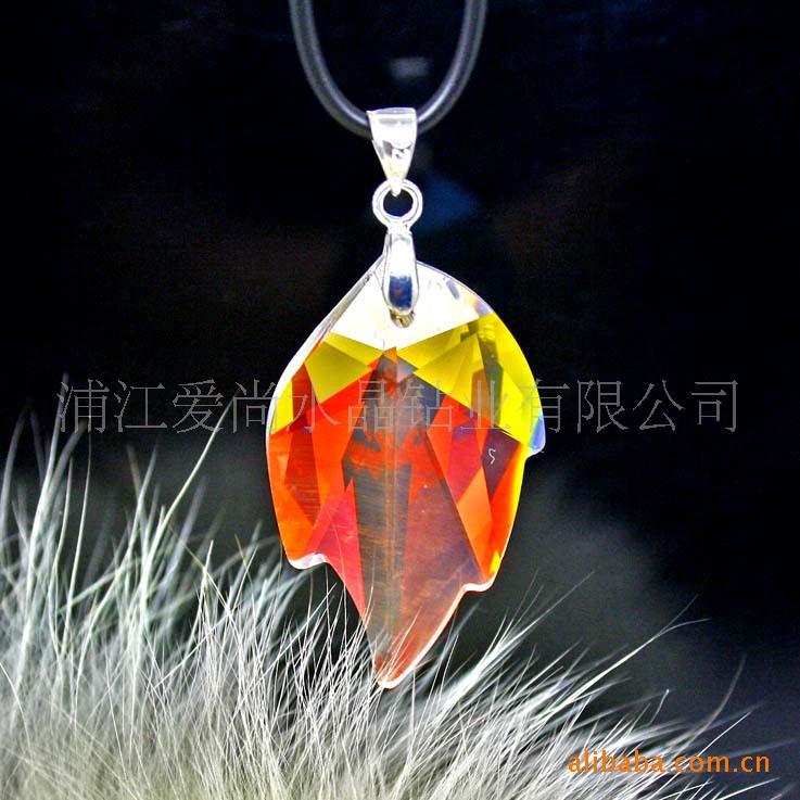 供应水晶饰品配件 门帘挂件 DIY配件 彩色AB玻璃枫叶挂件