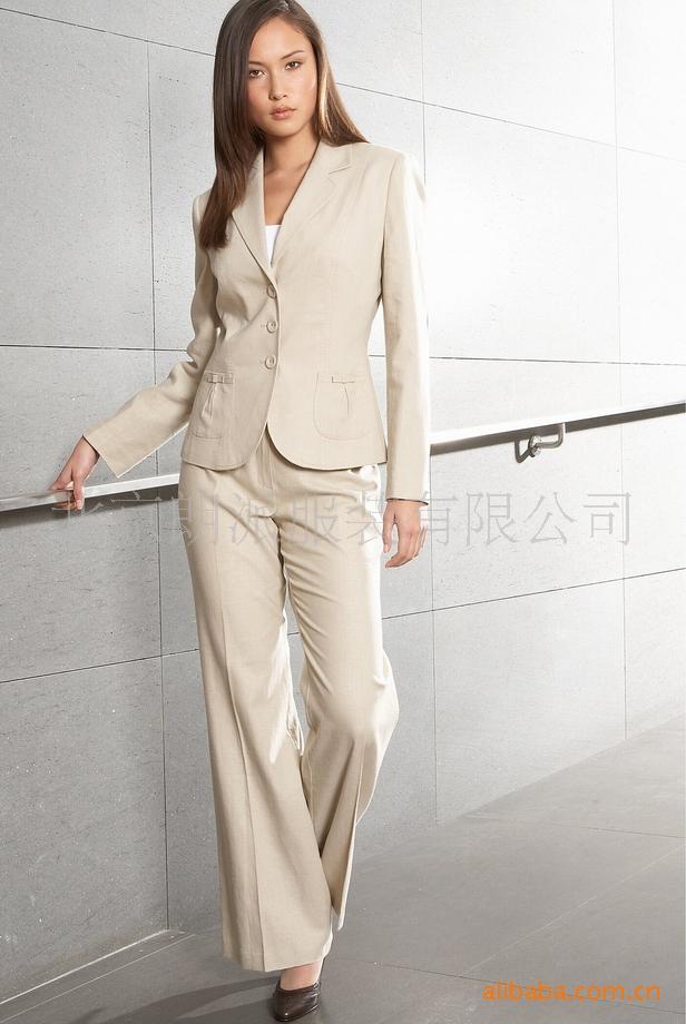 职业直筒裤_气质美女直筒裤职业套装纯白女式职业西装朗