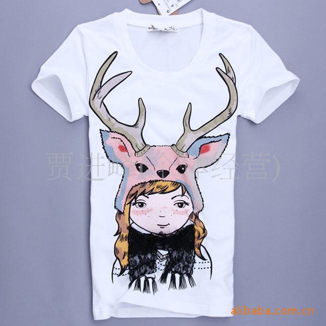 采购女式T恤 ZARA女T恤 蕾丝装饰驯鹿女