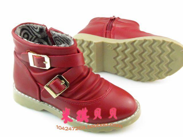 新款冬季女童保暖棉鞋 雪地靴 女童牛筋底皮靴16.5cm 19cm -价
