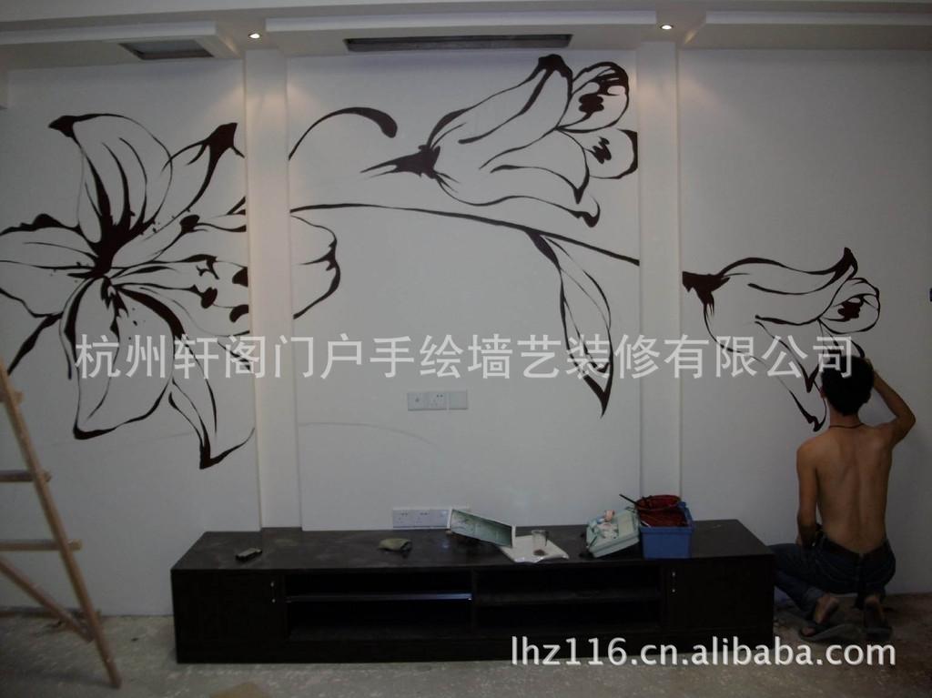 丙烯颜料手绘墙电视柜背景壁画