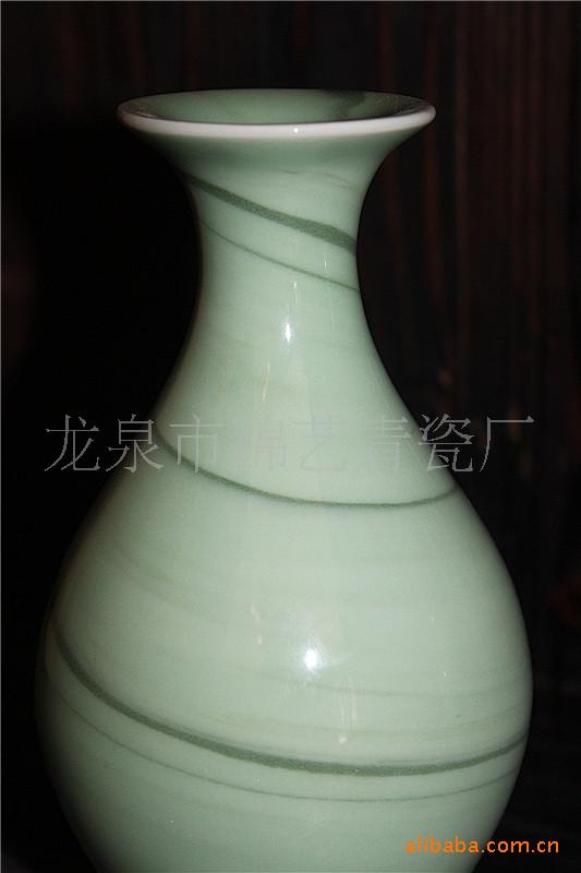 龙泉青瓷,青瓷工艺品弟窑绞胎花瓶.手工制作.装饰品,瓷器工...