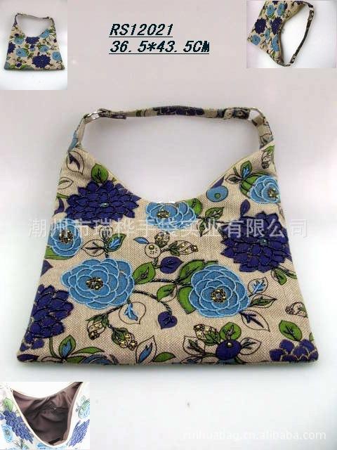 供应纯手工珠绣丝印图案麻布材质女士包 时尚休闲包手提包