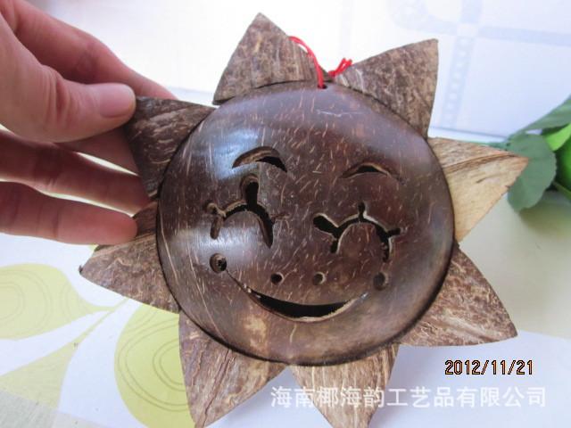 椰雕饰品民族工艺品椰雕太阳花特产工艺品,椰壳房间挂饰批发