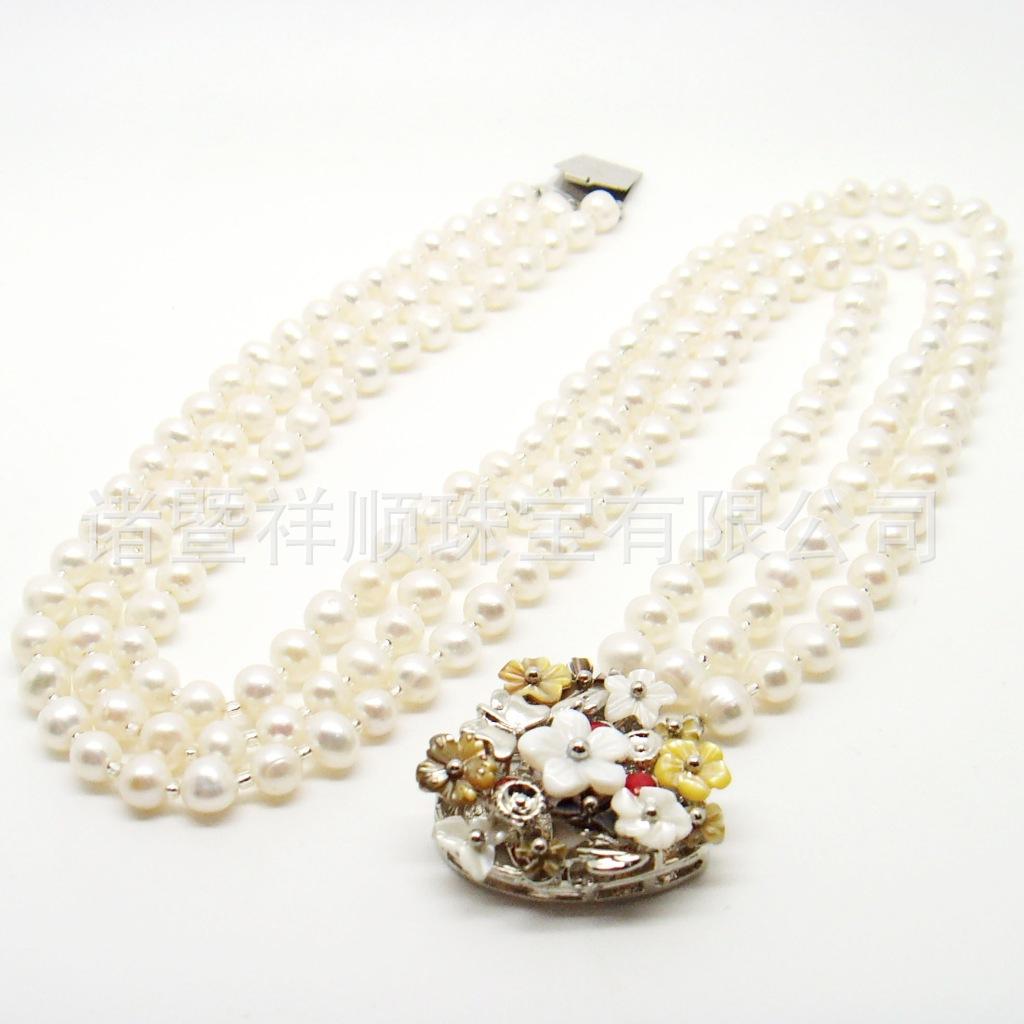 尚新款 三排 附真人秀 天然珍珠项链 花样项链图