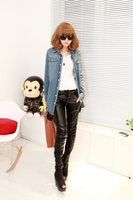 Free shipping 2012 new arrived  fashion women's long design leather pants
