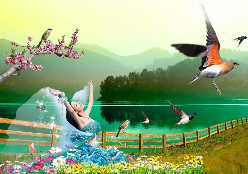 色彩唯美3d立体风景画 装饰画图片_7
