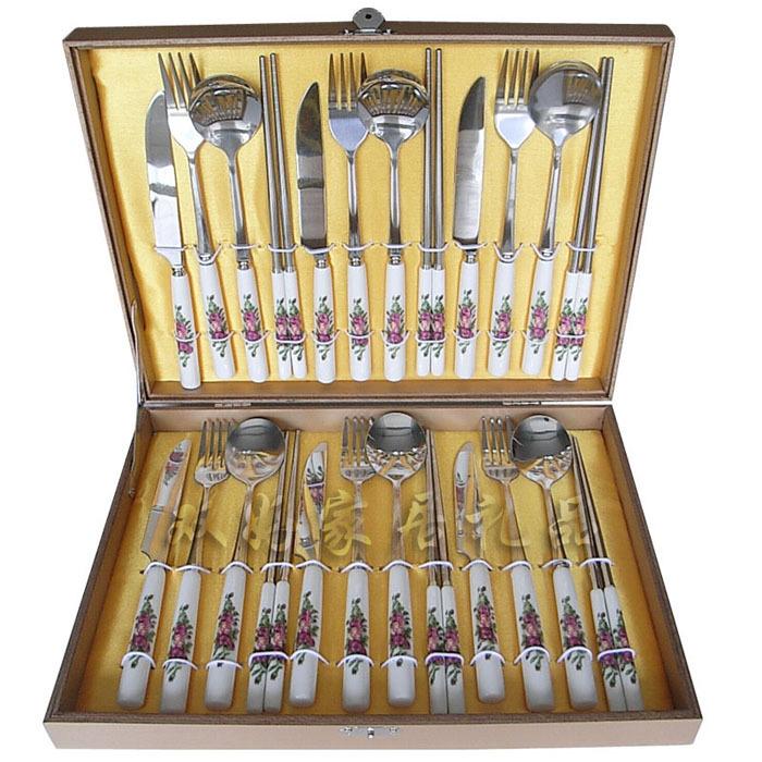 双好餐具 骨瓷24件套 骨瓷餐具套装 不锈钢筷勺刀叉 韩国餐