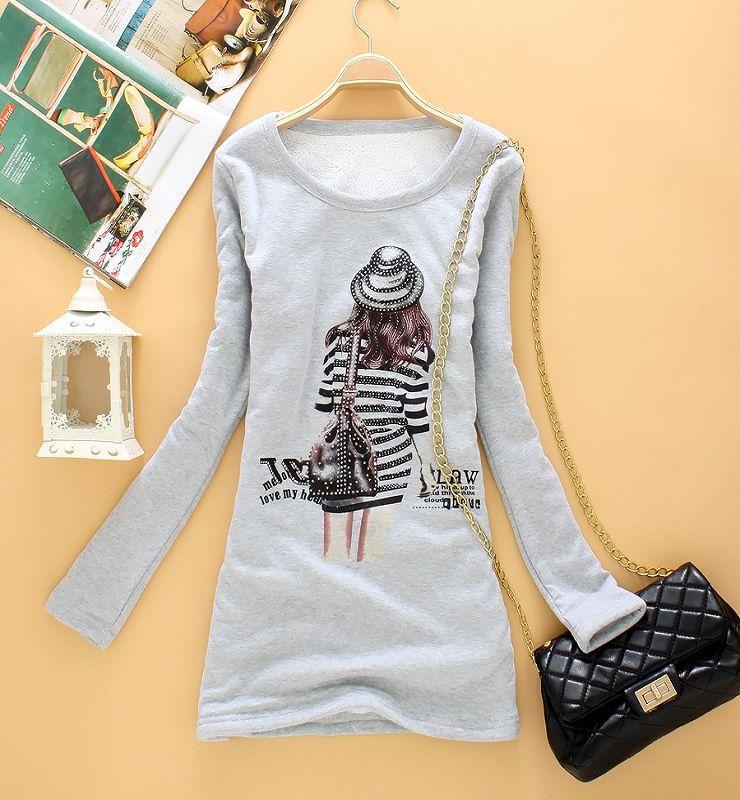 打底衫女长T恤的详细介绍,包括W6011秋冬韩版百搭中长款加绒加