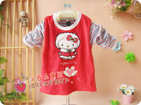 Children t-shirt spring and autumn baby long-sleeve T-shirt velvet color block decoration applique embroidery top basic shirt g