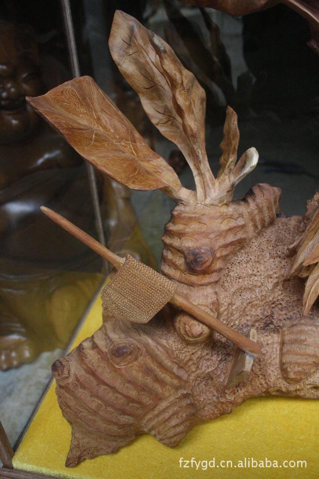 根雕工艺品红豆杉生肖鸡 家居饰品创意古玩摆件1308