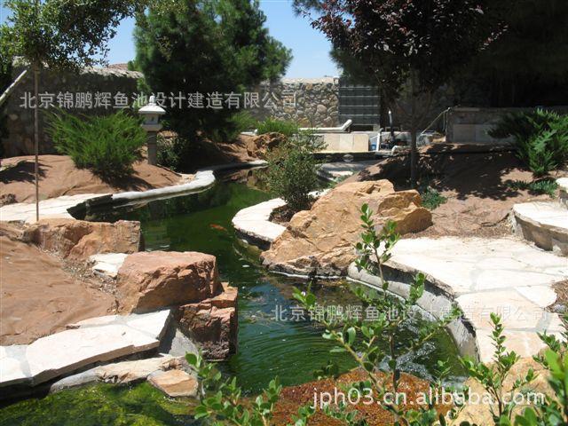 上海 花园鱼池设计效果图 锦鲤鱼池 设计施鱼池 别墅庭院景观