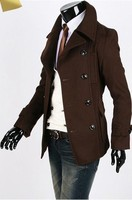 Мужской тренч 2012 autumn and winter brief fashion double breasted large lapel slim casual clothing outerwear