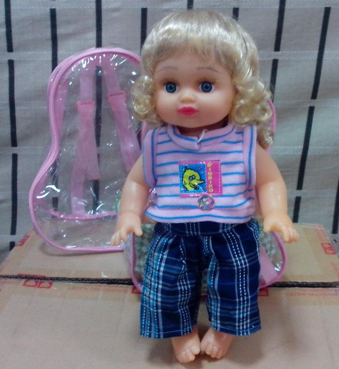 玩偶 娃娃 芭比娃娃 书包娃娃 洗澡喂水背包娃娃 会哭 会叫爸爸妈妈 图片