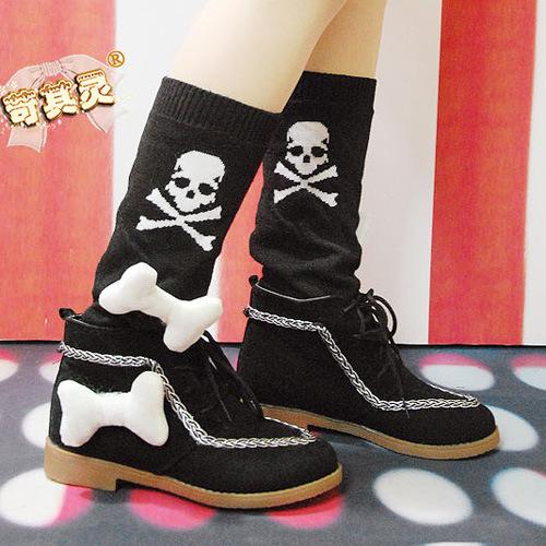 苛苛非主流个性骷髅头潮靴可拆骨头黑色毛衣靴