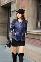 Free shopping 2012 winter women's fashion long-sleeve oblique zipper lace wadded jacket outerwear