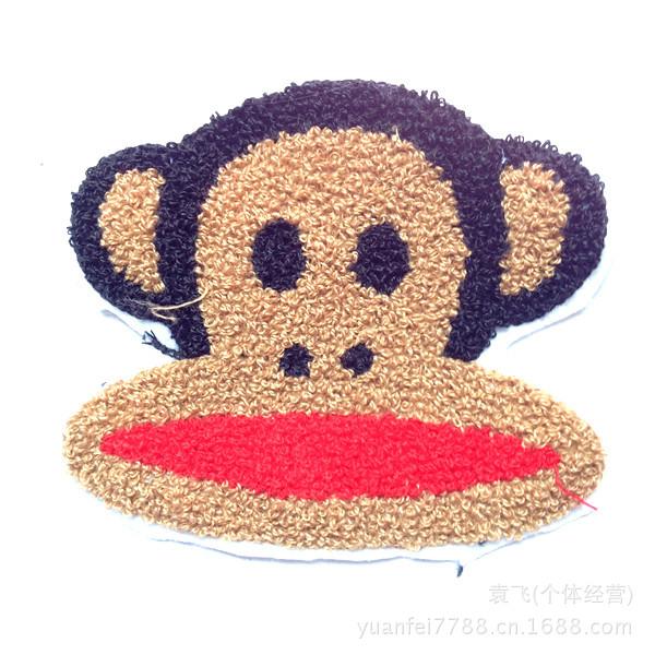 布贴 补丁贴 DIY服装辅料批发制作图片,来样定做 毛巾绣加工 卡通猴