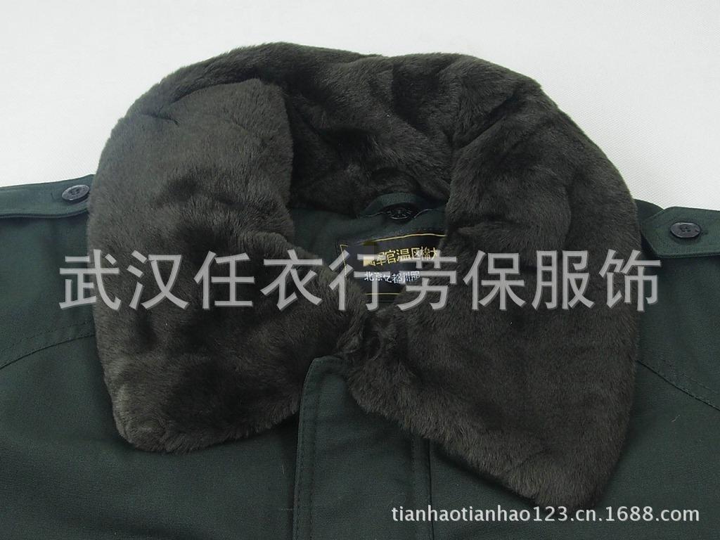 07军官常服棉大衣 干部长款风衣 校尉军大衣 军绿大衣 保安防寒服图图片