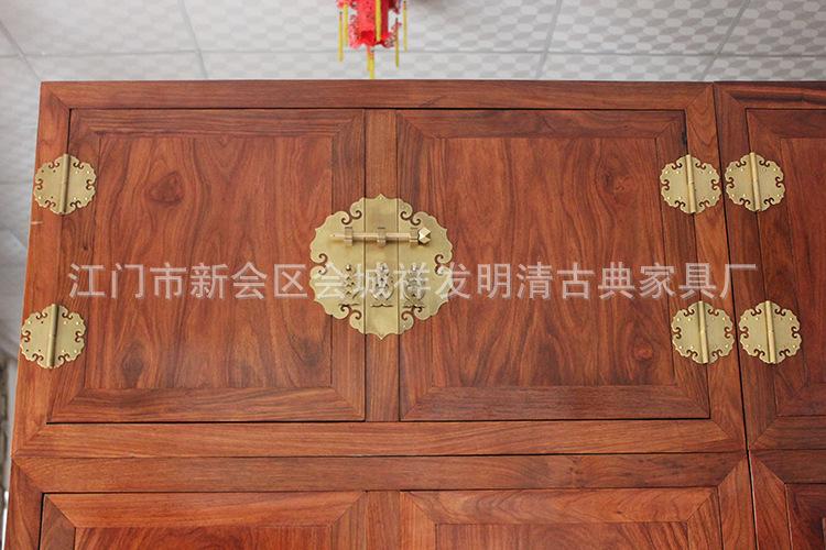 明清仿古红木家具 实木家具 非洲黄花梨 刺猬紫檀 素面顶箱柜衣柜图