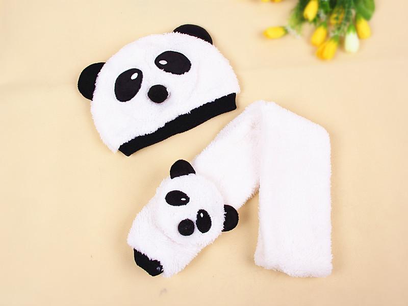 mz0010韩国儿童围巾套帽韩版秋冬宝宝帽子护耳帽婴儿帽可爱熊猫帽