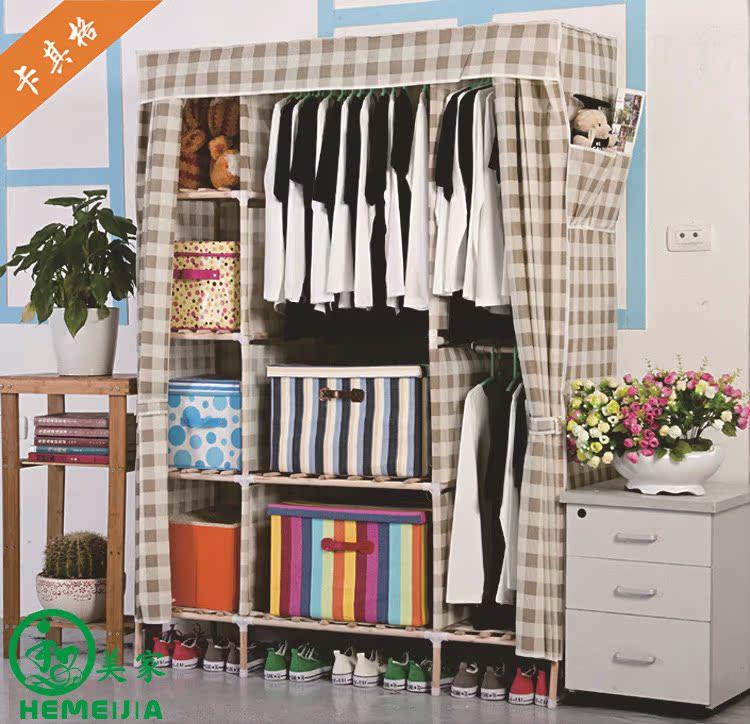 批发实木衣柜简易布衣柜折叠衣柜木质衣橱组装衣柜无纺布衣橱805