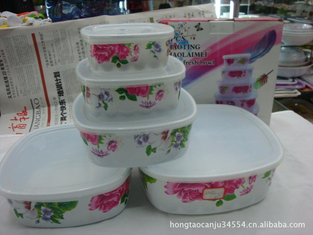 批发供应密胺四方五件套冰碗市场起订量为10件