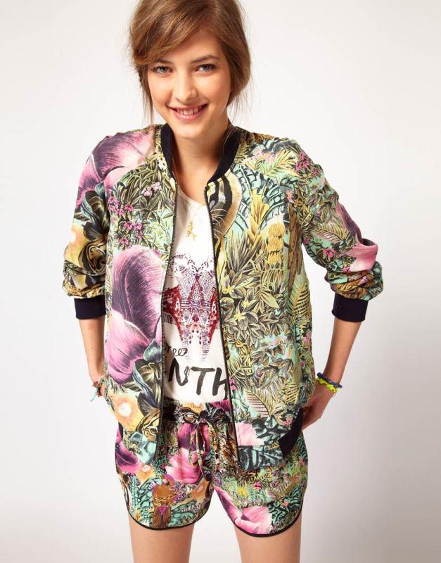 欧美品牌复古森林动物涂鸦印花女式外套
