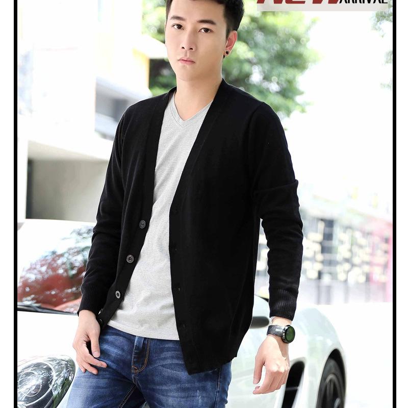 厂家直销 简约时尚韩版精致修身宽v领男士开衫