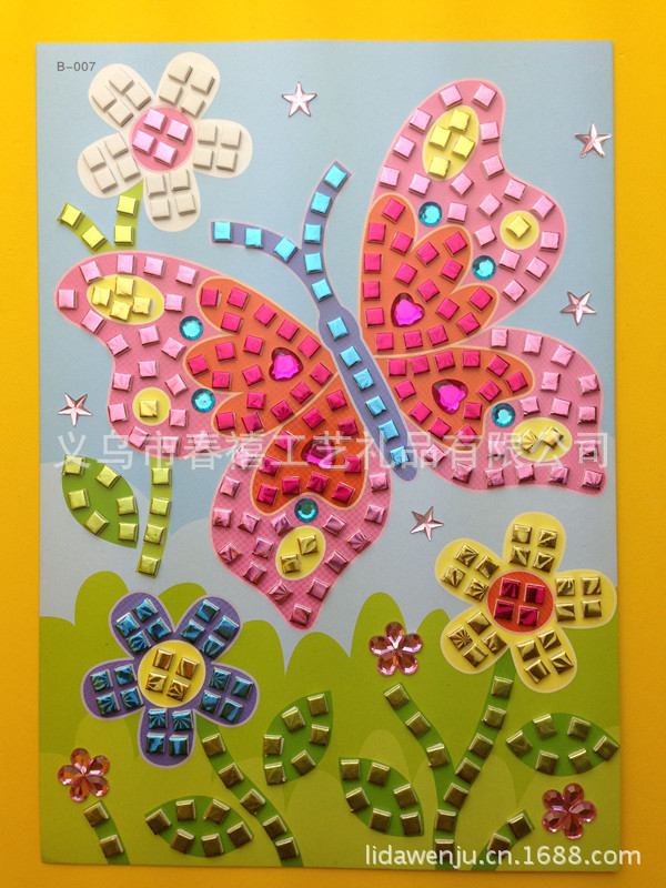 板 批发eva儿童贴画 手工diy制作3d立体带钻马赛克卡通粘贴画 贴纸