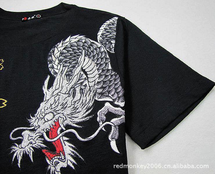 刺绣T恤男短袖 中国风纹身刺绣T恤 出口原单正品T恤 厂家直销