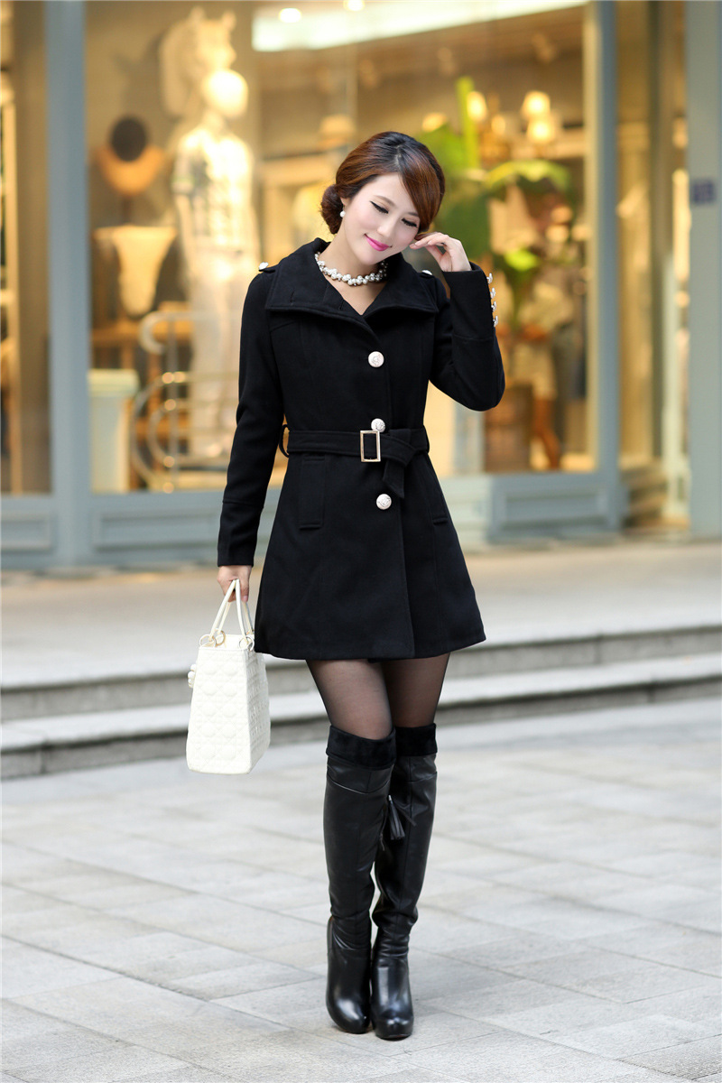 Latest Korean Style Solid Color Turndown Collar Slim Coat
