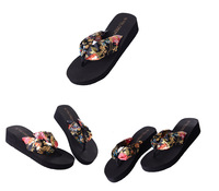 Женские сандалии women's bohemia fashion flip flops summer clamping jaw wedges platform flip sandals slippers