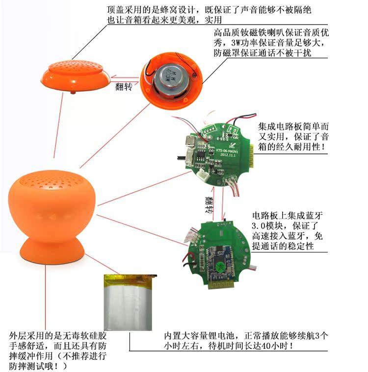 个性迷你无线蓝牙3.0吸盘音箱 汽车免提通话 高传输高音质 私模图片_6