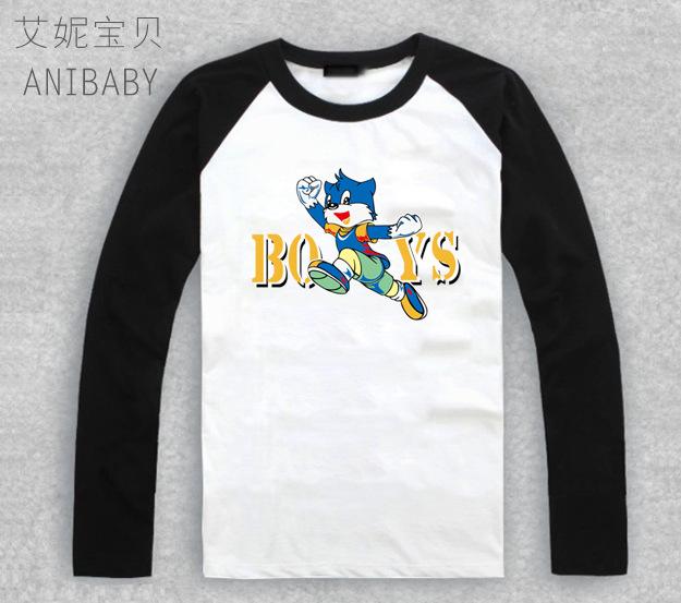 蓝猫恐龙时代图案儿童长袖衣服蓝猫恐龙时代图画儿童长袖T恤 -价