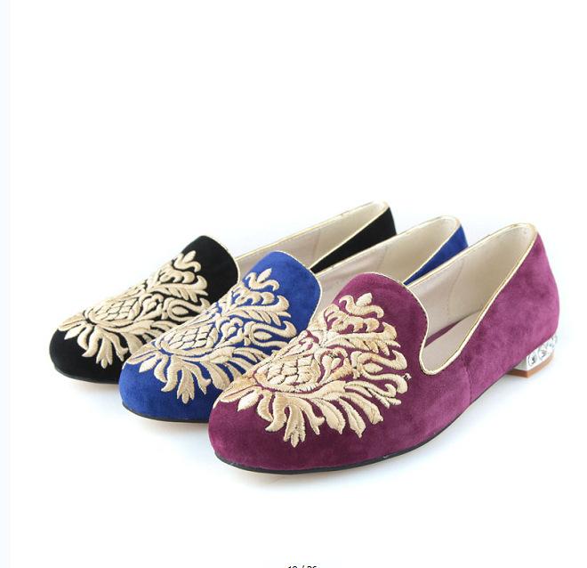 鞋欧美外贸经典复古鞋精美刺绣华丽水钻镶跟女鞋现货 -价格,