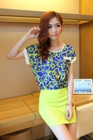 Потребительские товары 2013 Summer Women's Short-sleeve Print Chiffon Shirt+Slim Hip Skirt Fashion Swinset Dress Female's Business Wear