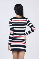 Женское платье Women striped long-sleeved autumn or winter dress Korean version stripe skirt bottoming women's jumpsuit dress