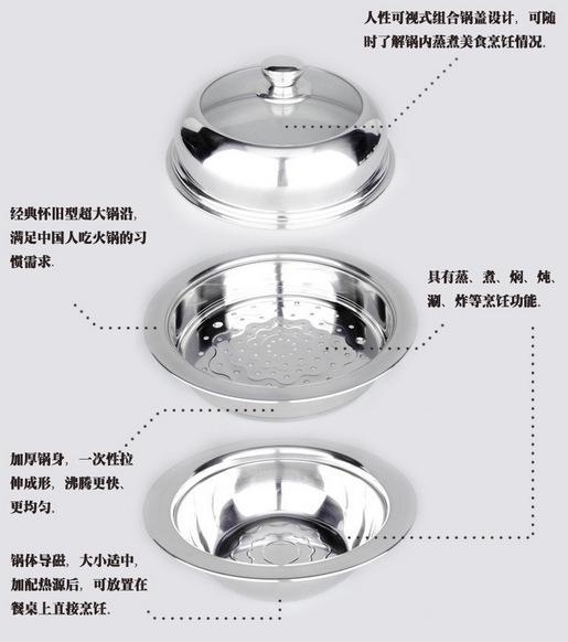 胜康批发 飞碟锅 优质不锈钢蒸锅汤锅 32cm 可视双层多用汤锅
