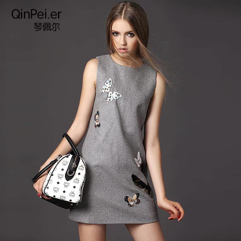 特价新品毛呢背心裙连衣裙欧洲站女装新款欧美时尚短裙Q1381