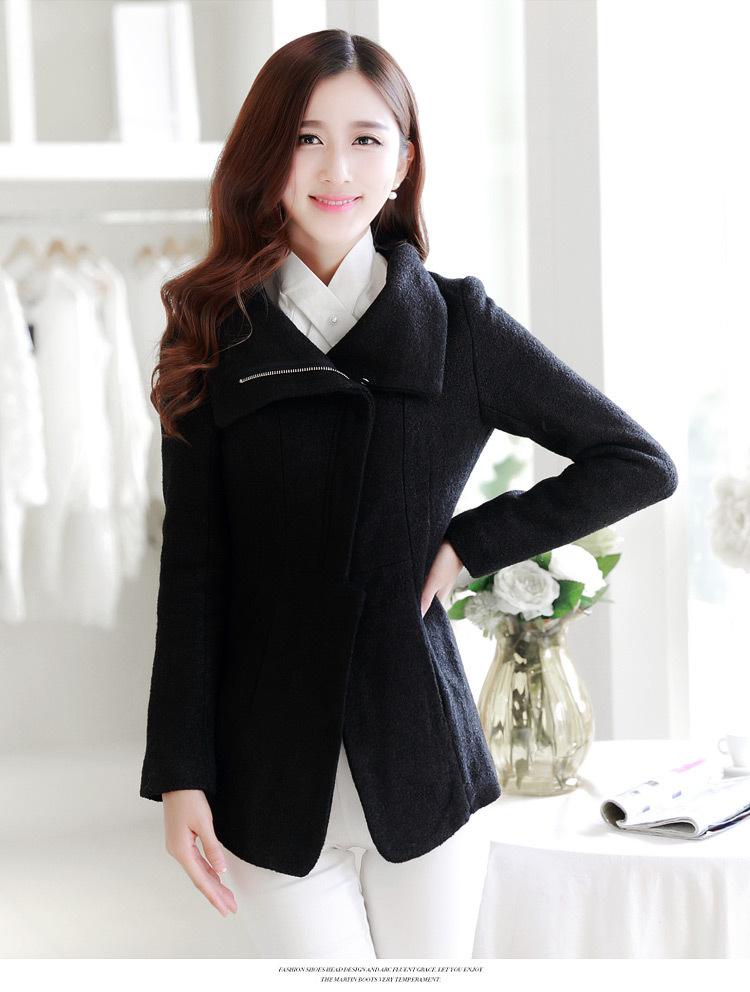 2014冬装新款韩版大翻领毛呢外套 长袖拉链呢子外套女装015