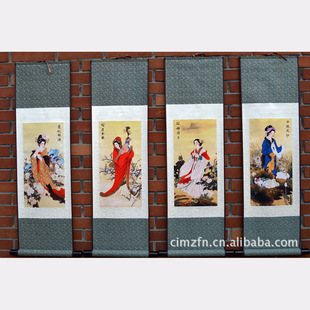 古代四大美女四件国画 精美卷轴丝绸字画 手工装裱书法卷轴画图片