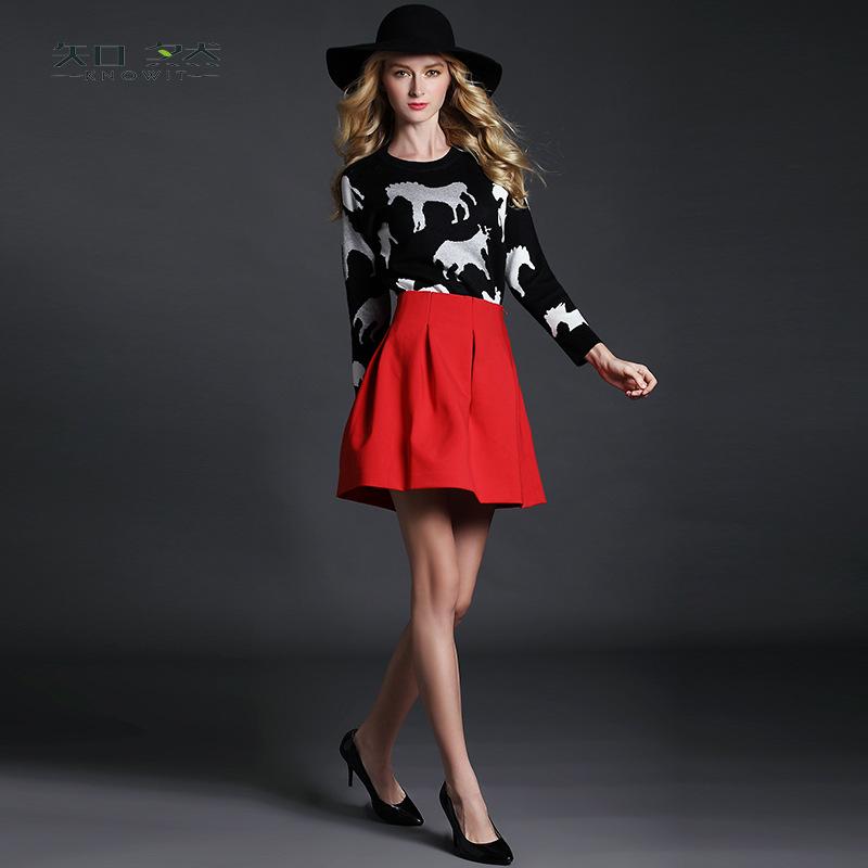 欧洲站2014秋冬新款女装 欧美印马针织上衣蓬蓬裙两件套套装ZR469