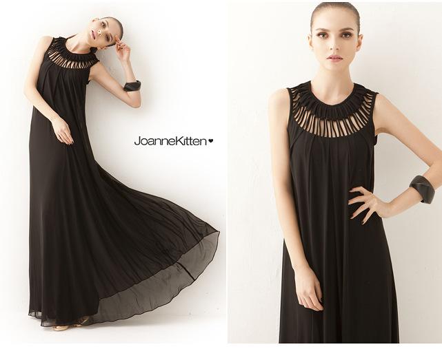 欧洲站2014新品女装性感宴会镂空层次花样式圆领连衣裙 长裙