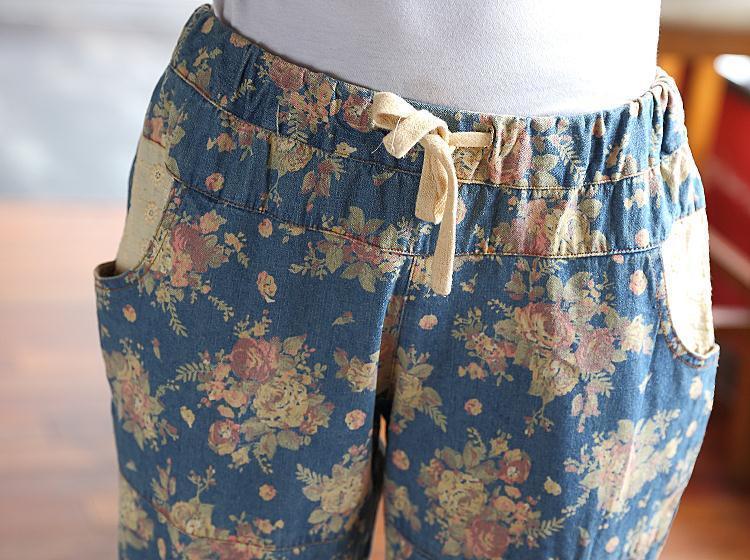 印大花牛仔裤
