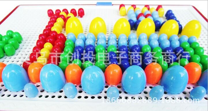 拼图 拼板 热卖早教智力蘑菇钉拼图组合插板拼插玩具 儿童巧巧钉拼图