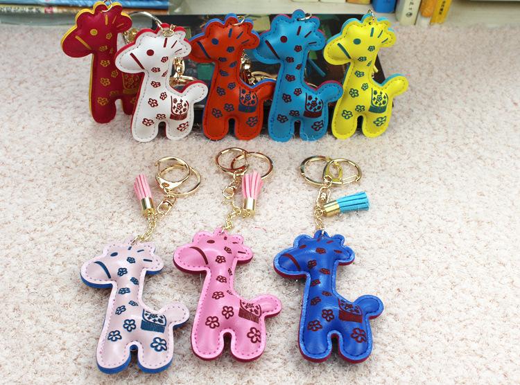 PU皮革汽车钥匙扣挂件 动物流苏钥匙圈包包挂饰小商品批发