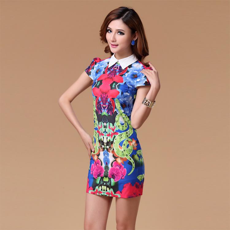2014夏装新款彩色美人蛇西装领印花连衣裙短