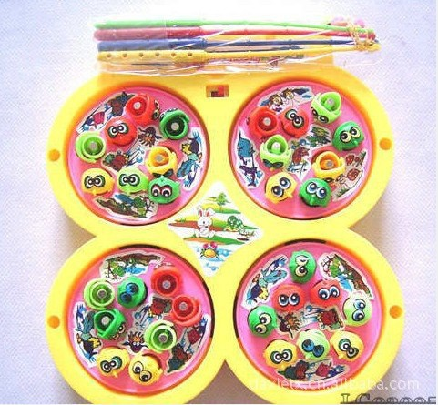 过家家玩具 电动唱歌四盘磁性钓鱼玩具 儿童钓鱼玩具 儿童玩具