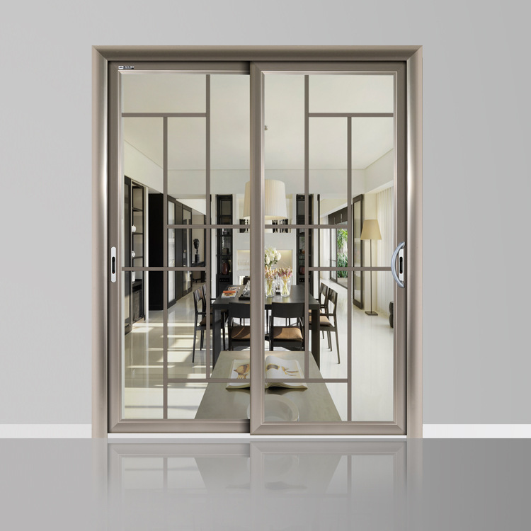 yc095亚材欧式工艺玻璃3轨吊趟门 厨房吊趟门 铝合金门窗批发图片_3