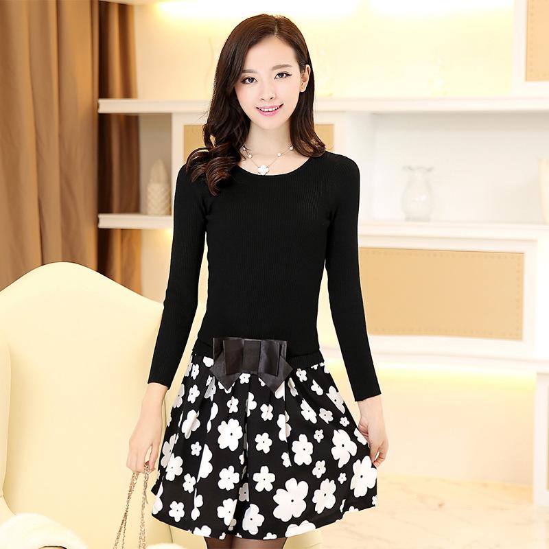 2015春新款韩版女气质显瘦印花针织连衣裙大码时尚打底裙女